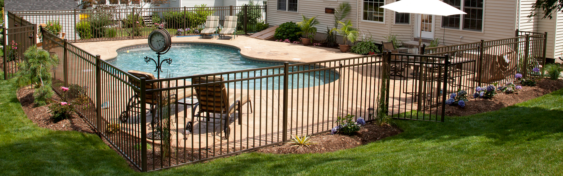 ornamental pool backyard fence